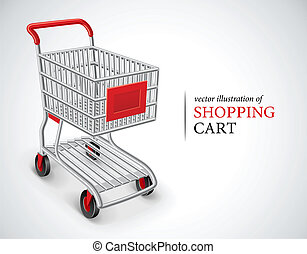 empty shopping cart vector illustration isolated on white...