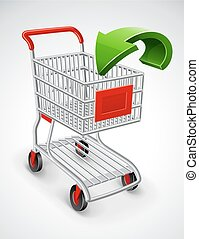 empty shopping cart with green arrow
