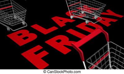 Black Friday - Empty shopping carts.Black Friday sale...