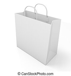 Empty shopping paper bag, isolated on white. Side view
