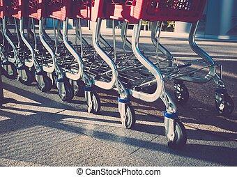 Empty shopping trolleys