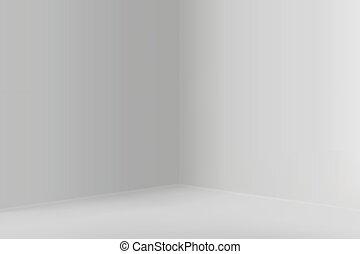 Empty show room with square corner