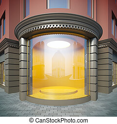 Empty showcase. - A 3D illustration of corner empty showcase...