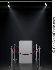 Empty showcase for exhibit with spotlights. - Empty showcase...