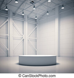 Empty showcase in bright hangar interior. 3d rendering