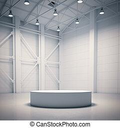 Empty showcase in bright hangar interior. 3d rendering