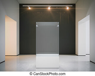 Empty showcase in warm interior. 3d rendering