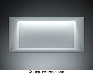 empty showcase with hidden light
