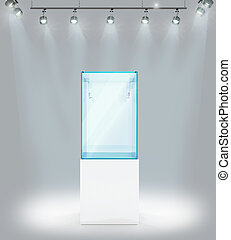 Empty showcase with searchlights, Against the gray wall. 3d...