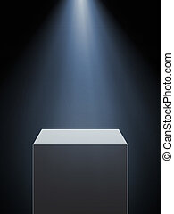 Empty showcase with spotlight isolated on a black background...