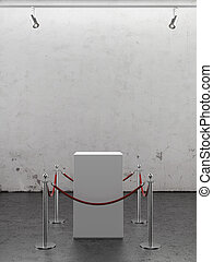 Empty showcase with spotlights. Plaster wall - Empty...