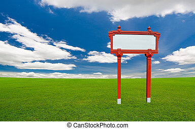 empty sign board under the blue sky