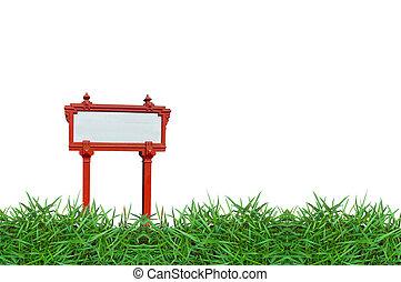empty sign borard on green grass