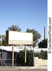 Empty sign in front garden