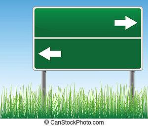 Empty signpost on sky background. - Empty signpost on sky...