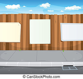 Illustration of a cartoon urban scene with wood fence and white billboard with copy space for your advertisement