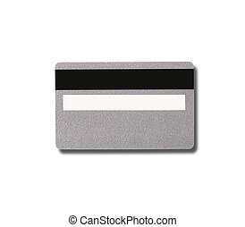 Empty silver plastic card with magnetic stripe