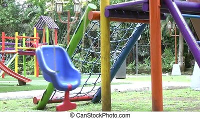 Empty single swing set.
