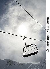 Empty ski lift chair.