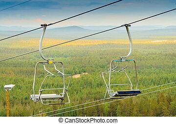 Empty Ski Lift Chairs