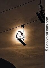 Empty ski lift silhouette