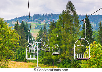 empty ski lifts climb the hill on a summer day