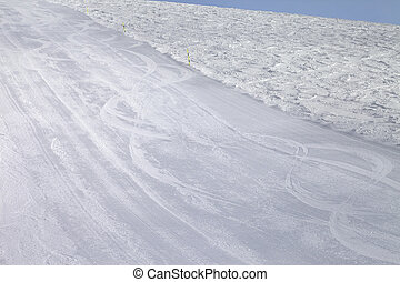 Empty ski slope at cold day. Caucasus Mountains. Georgia,...