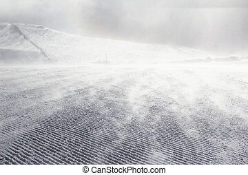 Empty ski slope covered with snow pompous
