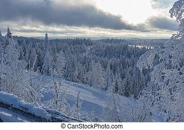 Empty ski slope in winter