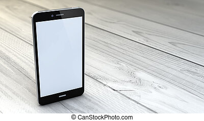 empty smartphone over white wooden background