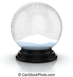 empty snow dome over white background
