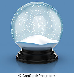 empty snow dome   - empty snow dome over blue background