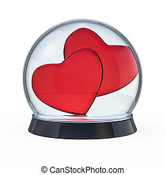 Empty snow dome with heart. 3D