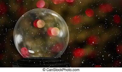 Empty snow globe and flashing lights