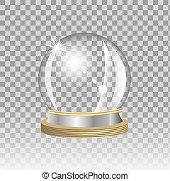Empty snow globe on transparent background, vector