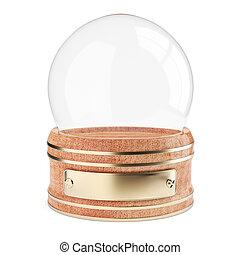 Empty snow globe isolated on white