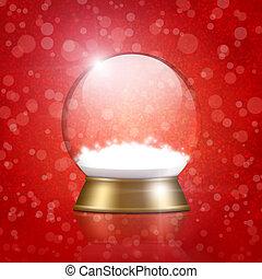 empty snow globe on bokeh background