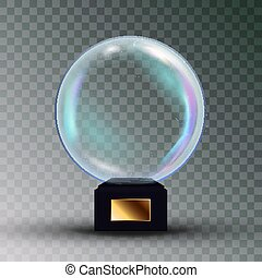 Empty Snow Globe Vector. Shadows, Reflection And Lights....