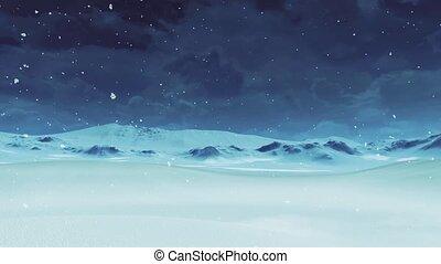 Empty snowy desert at snowfall - winter landscape