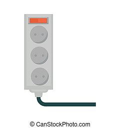 Empty socket with red button isolated on white