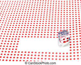 empty space for write and gambling dice on red dotted background