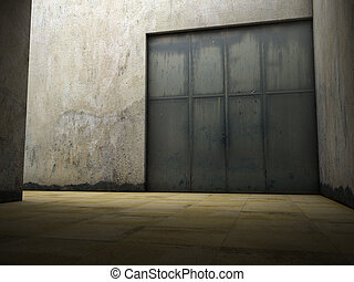 Empty space of grungy concrete with door