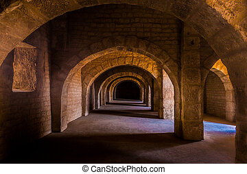Empty space on fortress of Sousse. Medieval architecture of...