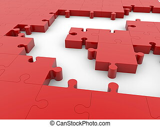 Empty spaces between puzzle pieces in red color.3d illustration.