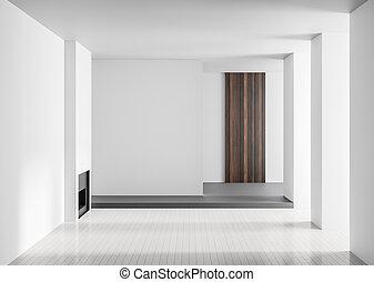 Empty spacious luxury interior with fireplace. Minimalist modern interior. 3D illustration.