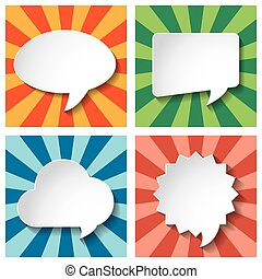Empty speech bubbles paper with shadow on Sun burst retro Pattern  background for your message or image. Vector illustration.
