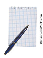 Empty spiral note pad with pen