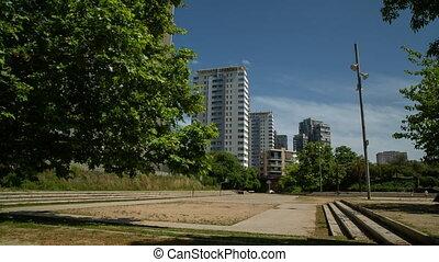 Empty sports ground with apartment blocks - Empty urban ...