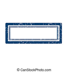 Empty square blue stamp