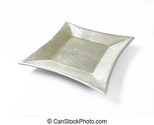 empty square silver plate